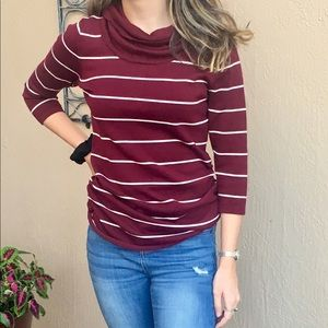 Maroon Striped Slouchy Turtle Neck